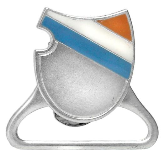 Zipfelhalter, Wappenform, mit Email und großem Bügel